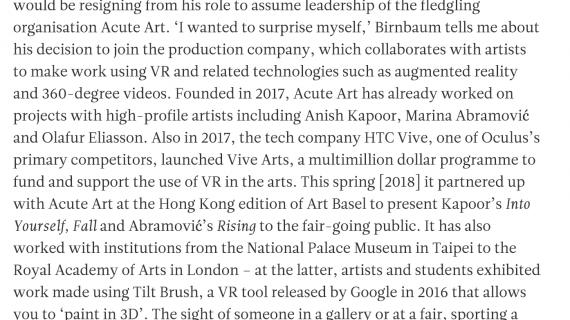 Apollo Magazine – Where next for virtual reality art? image